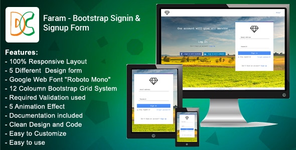 Faram - Sign in/Sign up forms - CodeCanyon Item for Sale