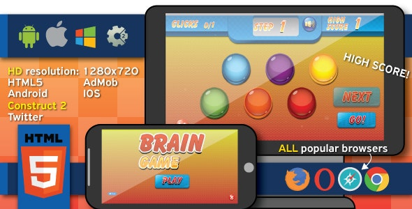 Brain game - HTML5 game (capx) - CodeCanyon Item for Sale