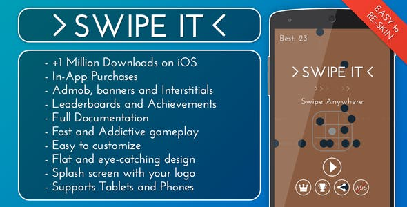 Swipe It - Admob + IAP + Leaderboards
