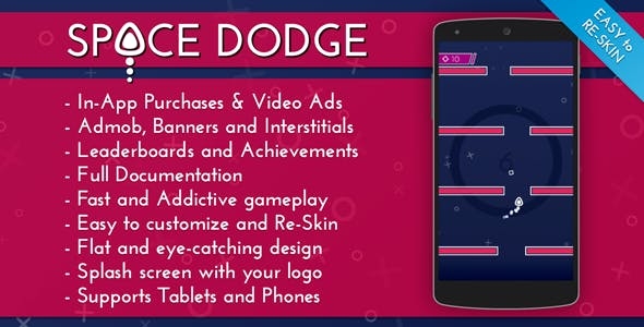 Space Dodge - Admob + IAP + Leaderboards