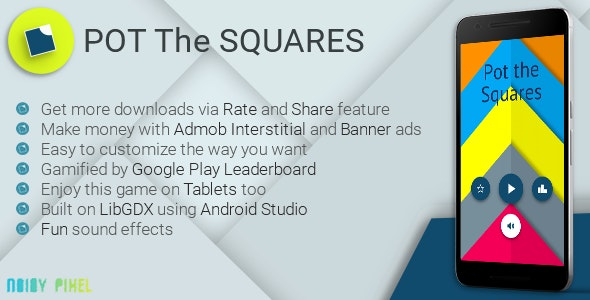 Pot the Squares - Material | Leaderboard | Admob - CodeCanyon Item for Sale
