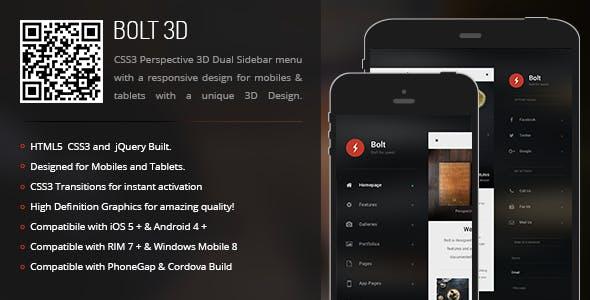Bolt 3D | Sidebar Menu for Mobiles & Tablets