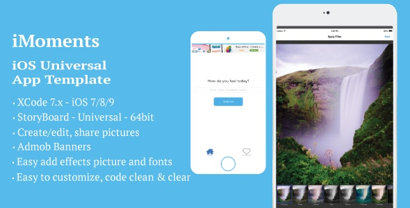 iMoments - iOS Universal App Template - CodeCanyon Item for Sale