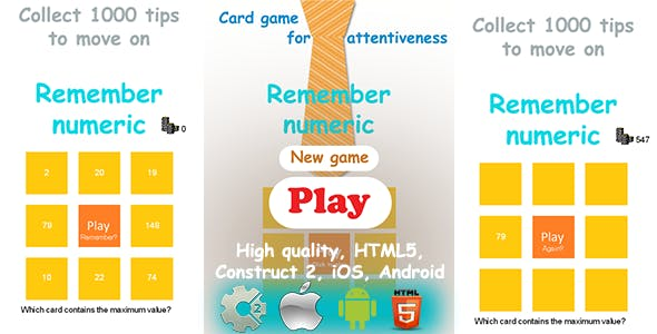 Remember Numeric - HTML5 Game, Construct2 CAPX