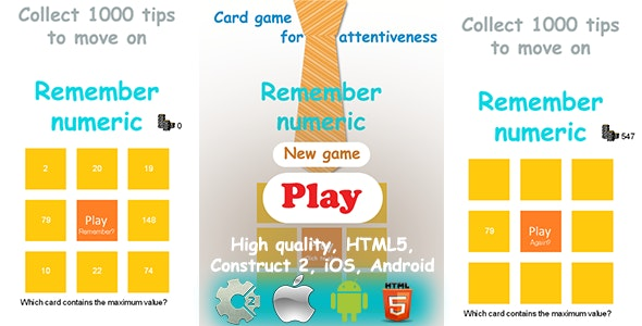 Remember Numeric - HTML5 Game, Construct2 CAPX - CodeCanyon Item for Sale