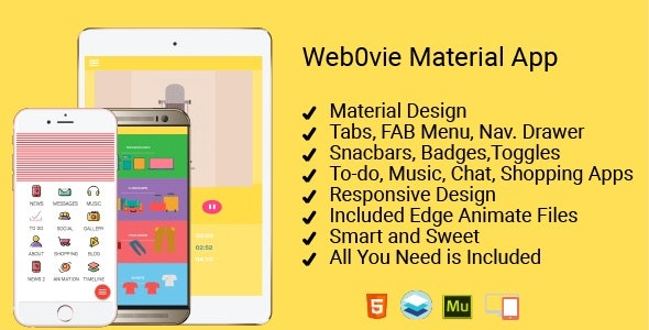 Web0Vie - Material Design Kit for HTML and Adobe Muse - CodeCanyon Item for Sale