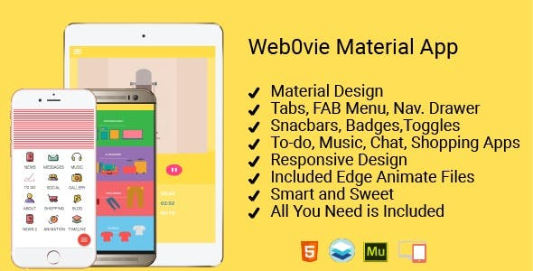 Web0Vie - Material Design Kit for HTML and Adobe Muse