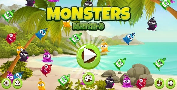 Monster Match-3 - HTML5 Game + Android + AdMob (Construct 3 | Construct 2 | Capx)