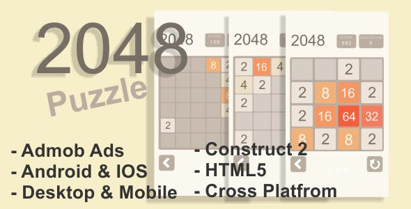 2048 Puzzle - HTML5 Desktop & Mobile Game + AdMob