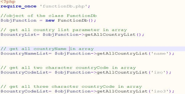 World Countries List - Multiple Function
