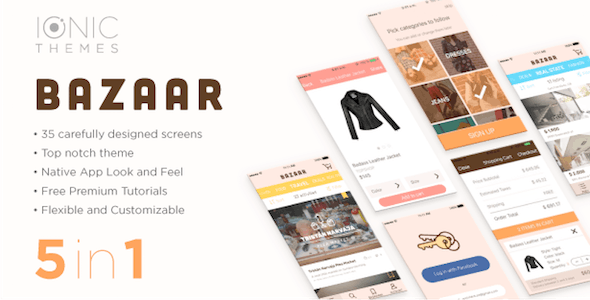 BAZAAR - Ionic Template (free optional WooCommerce integration)
