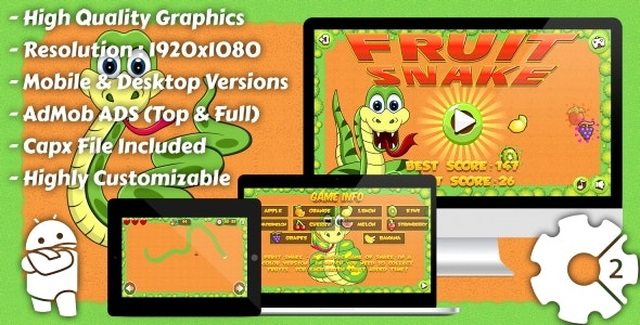 Fruit Snake - HTML5 Game, Mobile Version+AdMob!!! (Construct 3 | Construct 2 | Capx) - CodeCanyon Item for Sale