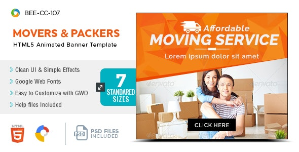 Movers and Packers Service HTML5 Banners(BEE-107) - CodeCanyon Item for Sale