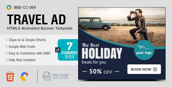 HTML5 Travel Banners - GWD - 7 Sizes(BEE-CC-059)