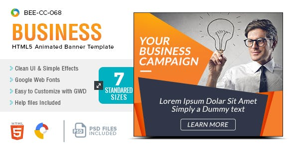 HTML5 Business Banners - GWD - 7 Sizes(BEE-CC-068)