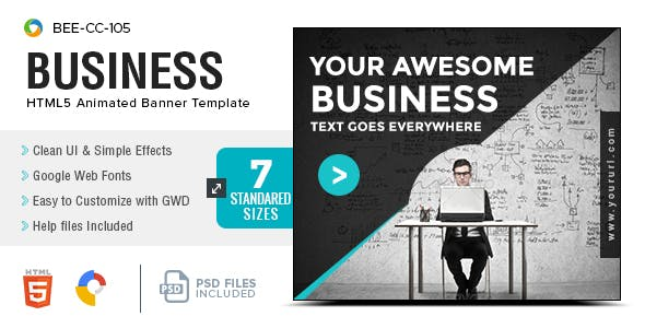 Business HTML5 Banners - GWD - 7 Sizes