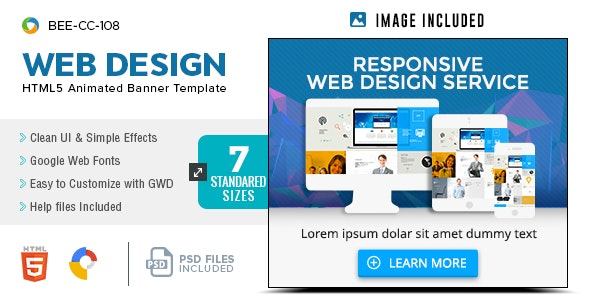 HTML5 Web Design Service Banners - GWD - 7 Sizes(BEE-CC-108) - CodeCanyon Item for Sale