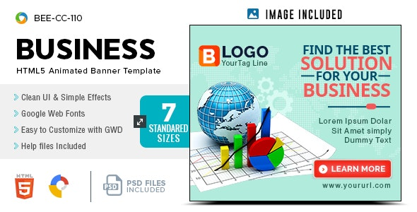 Business HTML5 Banners - GWD - 7 Sizes(BEE-CC-110) - CodeCanyon Item for Sale
