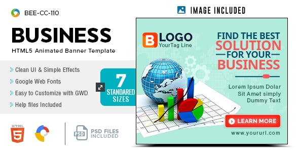 Business HTML5 Banners - GWD - 7 Sizes(BEE-CC-110)