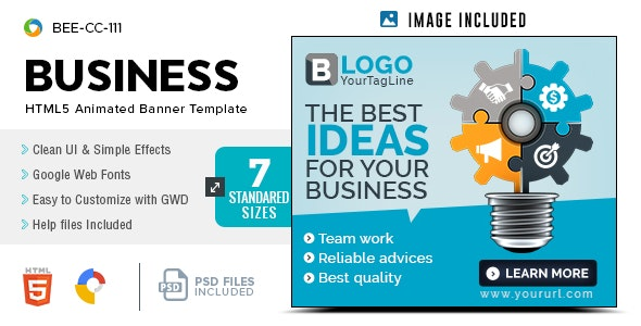 Business HTML5 Banners - GWD - 7 Sizes(BEE-CC-111) - CodeCanyon Item for Sale