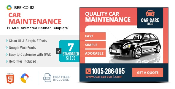 HTML5 Car Sale & Service Banners - GWD - 7 Sizes(BEE-CC-112) - CodeCanyon Item for Sale