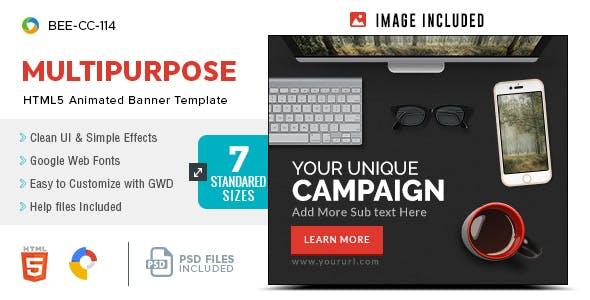 HTML5 Multi Purpose Banners - GWD - 7 Sizes(BEE-CC-114)