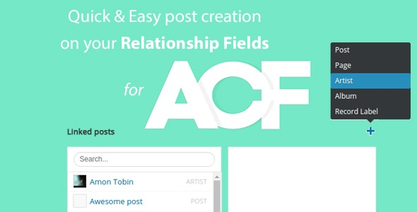 Quick and easy Post creation for ACF Relationship Fields PRO - CodeCanyon Item for Sale