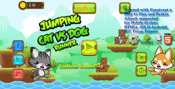 Jumping Cat & Dog Runner -- HTML5 Game, Mobile Vesion+AdMob!!! (Construct-2 CAPX)