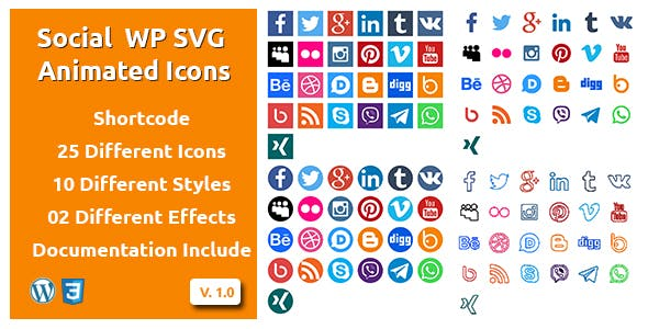 Social - Wordpress SVG Animated Icons