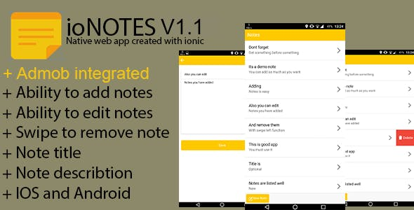 ioNotes v.1.1 - Full Ionic/PhoneGap/Cordova (IOS - Android) App - CodeCanyon Item for Sale