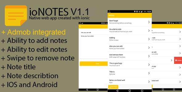 ioNotes v.1.1 - Full Ionic/PhoneGap/Cordova (IOS - Android) App