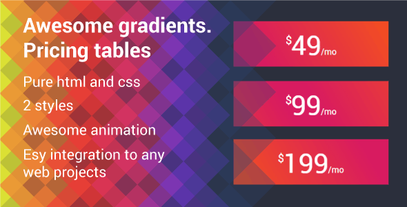 Awesome gradients. Pricing tables - CodeCanyon Item for Sale