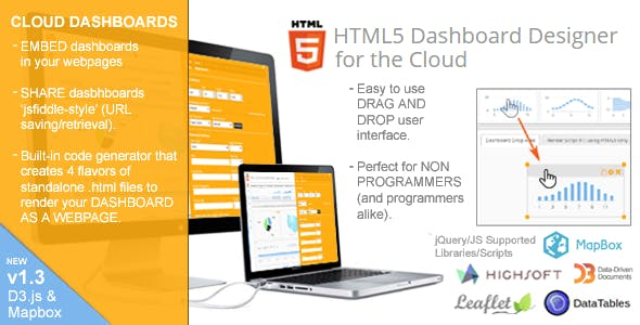 HTML5 Dashboard Designer (Runs on the Cloud - 100% source code included)