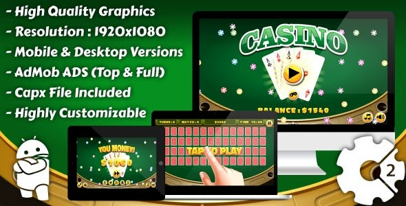 "Casino - ""Cards Memory"" HTML5 Game, Mobile Version+AdMob!!! (Construct 3 