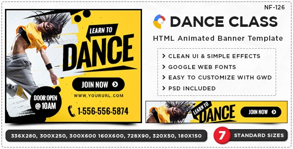 Dance Class HTML5 Banners - GWD - 7 Sizes(NF-CC-126) - CodeCanyon Item for Sale