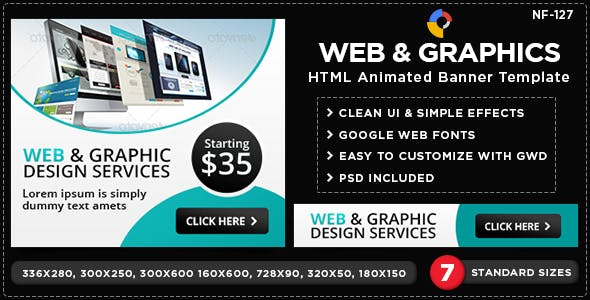 Web & Graphics HTML5 Banners - GWD - 7 Sizes(NF-CC-127)