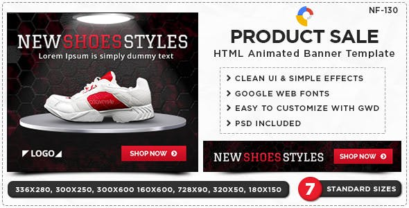 HTML5 Product Sale Banners - GWD - 7 Sizes(NF-CC-130)