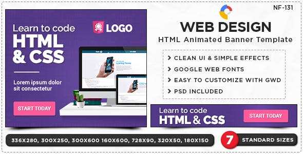 HTML5 Web Design Service Banners - GWD - 7 Sizes(NF-CC-131)