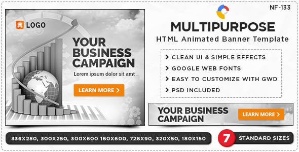 HTML5 Multi Purpose Banners - GWD - 7 Sizes(NF-CC-133)