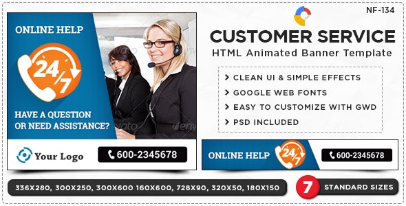 Customer Service HTML5 Banners - (NF-CC-134) - CodeCanyon Item for Sale
