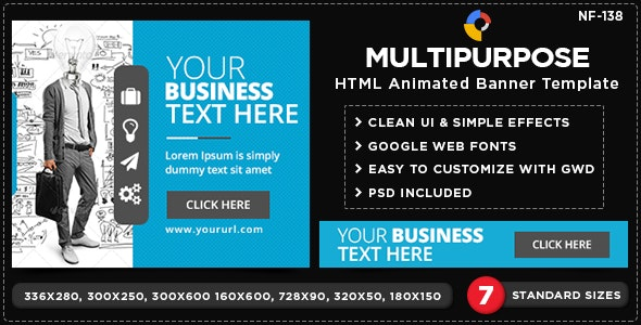 HTML5 Multi Purpose Banners - GWD - 7 Sizes(NF-CC-138) - CodeCanyon Item for Sale