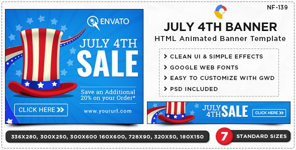 July 4 Banners - HTML5 Banners - (NF-CC-139) - CodeCanyon Item for Sale