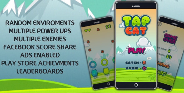 TAP CAT - ADS Enabled+Achievments+FB score post+Leaderboards - CodeCanyon Item for Sale