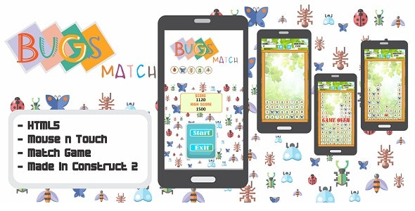 Bugs Match - HTML5 Puzzle Game  - CodeCanyon Item for Sale