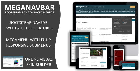 MegaNavbar (v 2.2.0). Advanced Mega Menu for Bootstrap 3.0+