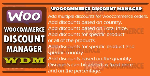 Woocommerce Discount Manager - WDM
