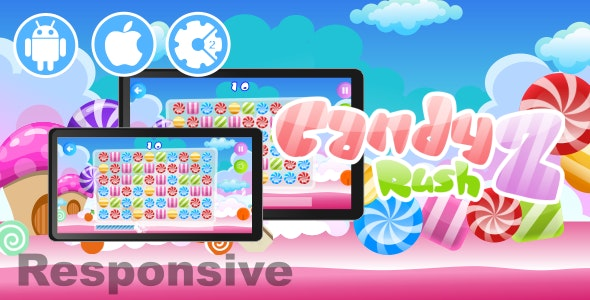 Candy Rush 2 (Resposive Landscape) - HTML5 Desktop & Mobile Game - CodeCanyon Item for Sale