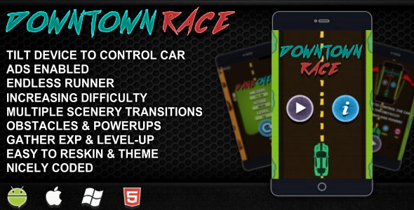 Downtown Race - Device Tilt Control + ADS Enabled +Endless runner + Obstacles & Powerups - CodeCanyon Item for Sale