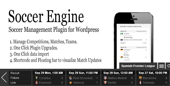 Soccer Engine WordPress Plugin by shazzad | CodeCanyon
