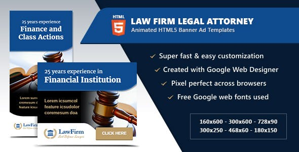 Law Firm Legal Attorney Banners - HTML5 Animated GWD